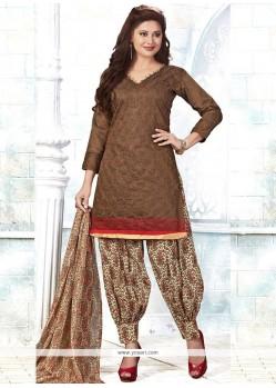 Sunshine Embroidered Work Brown Chanderi Punjabi Suit