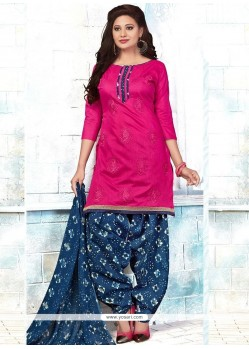 Embroidered Chanderi Punjabi Suit In Pink