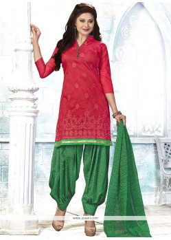 Tempting Embroidered Work Red Punjabi Suit
