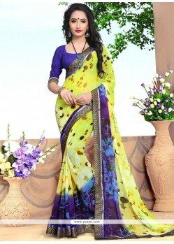 Heavenly Print Work Multi Colour Georgette Casual Saree
