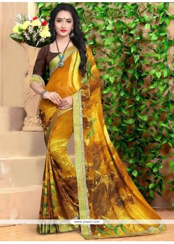 Perfect Georgette Print Work Casual Saree