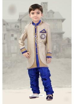 Beige And Blue Silk Jacquard Sherwani For Kids