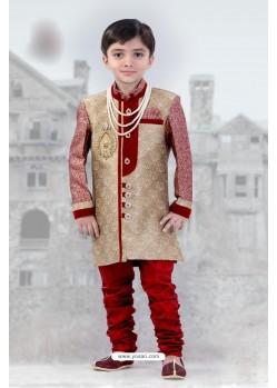 Fantastic Red And Beige Self Design Sherwani