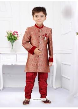 Vivacious Red Silk Jacquard Mandarin Collar Sherwani For Boys