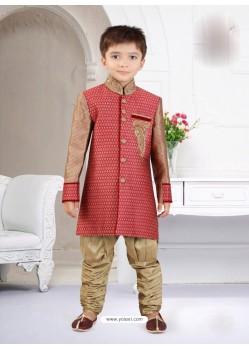 Silk Jacquard Self Designed Boys Sherwani