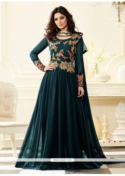 Magnetize Teal Floor Length Anarkali Suit