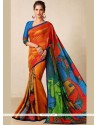 Multi Colour Print Work Tussar Silk Printed Saree