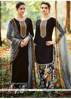 Immaculate Black Cotton Satin Designer Suit