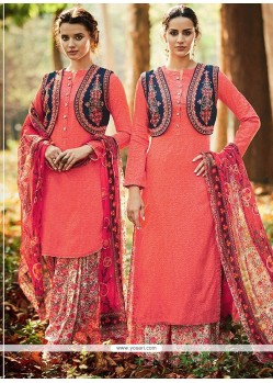 Specialised Peach Print Work Cotton Satin Designer Suit