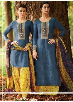 Sunshine Embroidered Work Blue And Mustard Cotton Satin Designer Suit