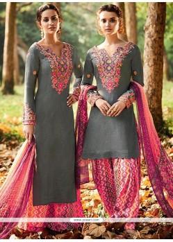 Prominent Print Work Cotton Satin Designer Suit
