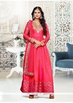 Glowing Lace Work Floor Length Anarkali Suit