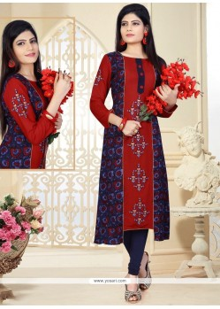 Artistic Rayon Maroon And Navy Blue Print Work Party Wear Kurti