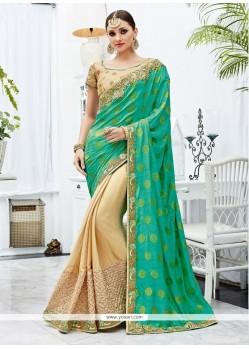 Glorious Zari Work Net Designer Half N Half Saree