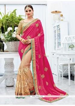 Impeccable Cream And Pink Zari Work Art Silk Designer Half N Half Saree