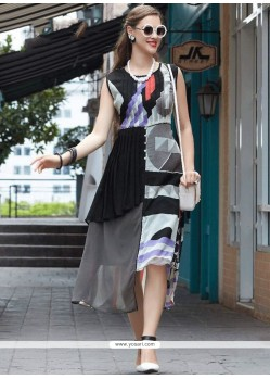 Delightsome Faux Georgette Multi Colour Print Work Party Wear Kurti