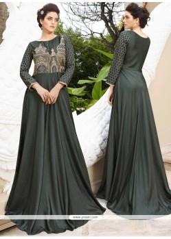 Stunning Resham Work Satin Silk Grey Designer Gown
