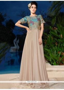 Beige Satin Silk Resham Work Designer Gown