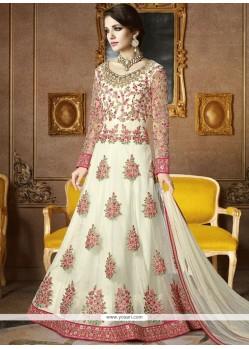 Astounding White Zari Work Net Floor Length Anarkali Suit