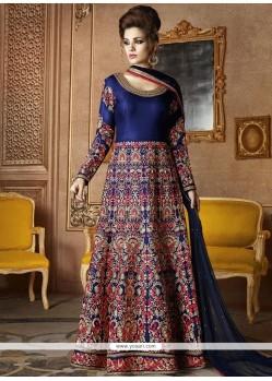 Incredible Art Silk Blue Zari Work Floor Length Anarkali Suit