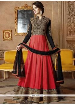 Cute Lace Work Black And Orange Floor Length Anarkali Suit
