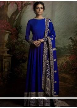 Celestial Blue Resham Work Banglori Silk Floor Length Anarkali Suit