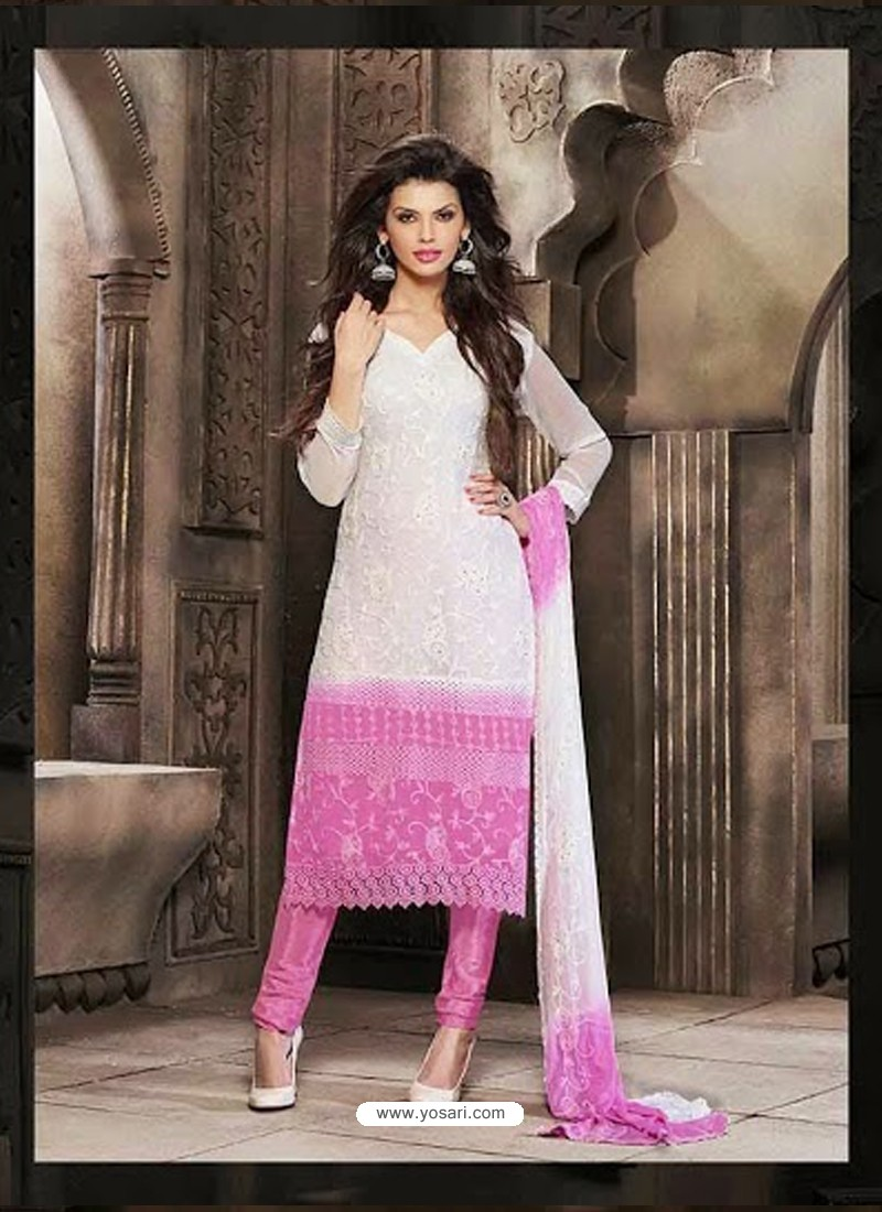 Pink And White Bedroom: Pink And White Chiffon Punjabi Suit