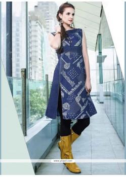 Glossy Print Work Denim Blue Party Wear Kurti