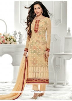Conspicuous Stone Work Faux Georgette Designer Straight Suit