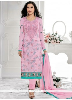Exciting Embroidered Work Pink Designer Straight Suit