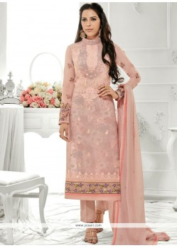 Precious Stone Work Faux Georgette Peach Designer Straight Suit