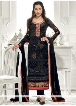 Sophisticated Black Designer Straight Suit