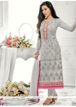 Exquisite Stone Work Faux Georgette Designer Straight Suit