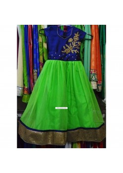 Green And Blue Handwork Baby Anarkali For Birthday
