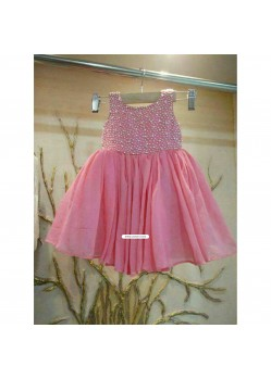 Cute Pink Handmade Moti Work Gown For Young Daughter