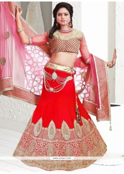 Mod Velvet Red Lace Work A Line Lehenga Choli