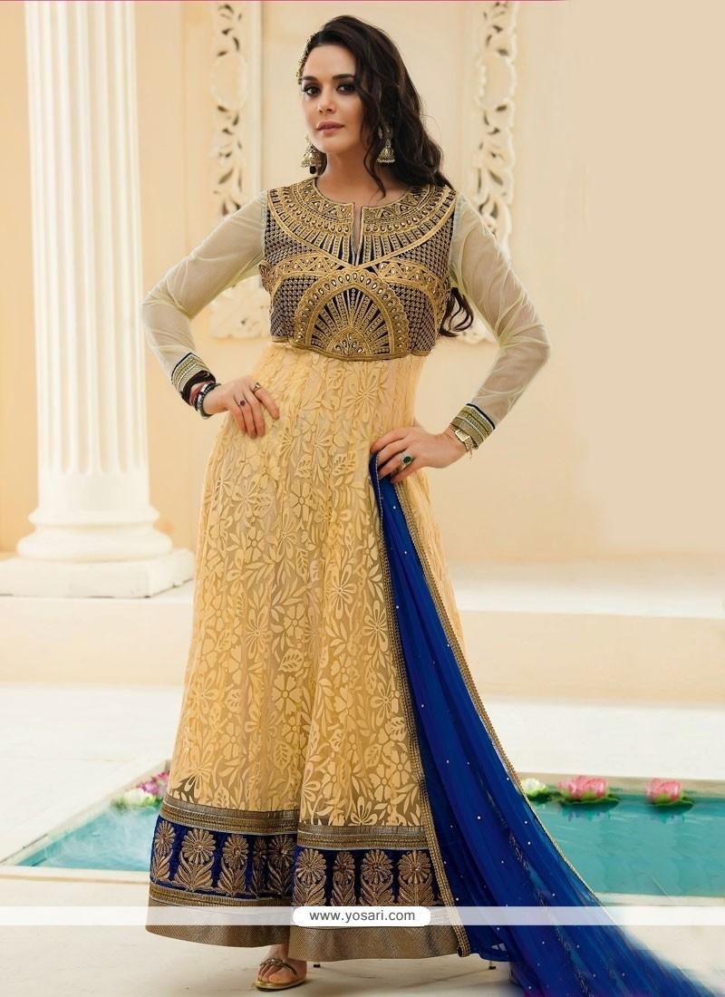 Preity Zinta Cream Jacquard Anarkali Suit