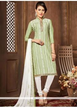 Lace Work Cotton Green Churidar Designer Suit