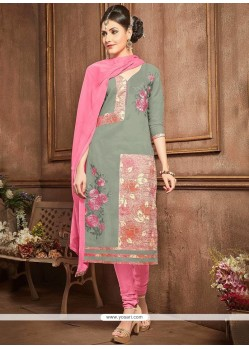 Cotton Grey Lace Work Churidar Designer Suit