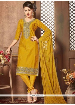 Lace Work Mustard Cotton Churidar Designer Suit