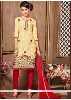 Lace Work Cream And Red Churidar Designer Suit