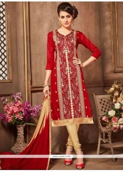 Cotton Embroidered Work Churidar Designer Suit