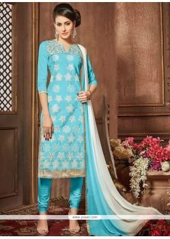 Lace Work Blue Cotton Churidar Designer Suit
