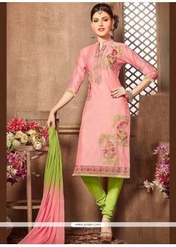 Cotton Rose Pink Churidar Designer Suit