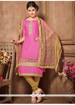 Pink Lace Work Cotton Churidar Designer Suit