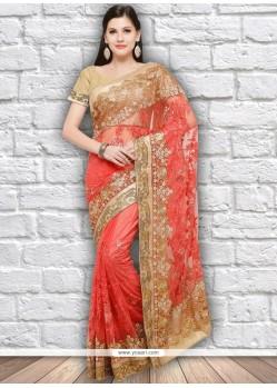 Orange Net Designer Saree