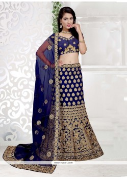 Art Silk Navy Blue Lehenga Choli