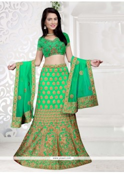Art Silk Green Zari Work Lehenga Choli