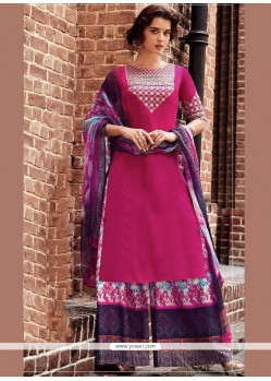 Cotton Satin Hot Pink Designer Palazzo Suit