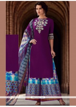 Print Work Purple Cotton Satin Designer Palazzo Suit
